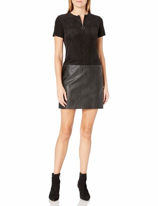 Julia Jordan Women's Short Sleeve Zip Front Faux Leather/Suede Shift Dress