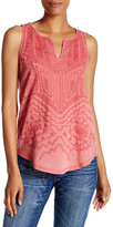 Lucky Brand Embroidered Shell Tank