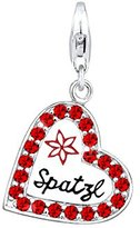 Elli Women's Charm Heart Spatzl Wiesnschmuck 925 Silver / Enamel / Red Crystal 0407532915 Brilliant Cut Diamonds