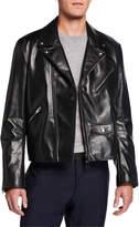 Bottega Veneta Men's Zip-Front Leather Moto Jacket