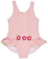 Florence Eiseman Skirted Striped Seersucker Swimsuit, Pink, Size 2T-6X