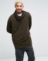 Asos Oversized Funnel Neck Sweatshirt With Drawstring Hem In Khaki