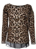 Quiz Black and Stone Light Knit Leopard Print Top