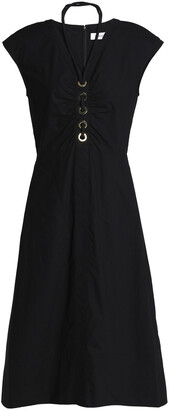 Derek Lam 10 Crosby Ruched Eyelet-embellished Cotton-poplin Midi Dress
