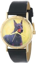 Whimsical Watches Kids' P0130035 Classic Doberman Black Leather And Goldtone Photo Watch