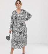 Asos ASOSDESIGN Curve Exclusive jacquard wrap maxi dress in mono animal