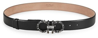 Salvatore Ferragamo Jeweled Buckle Leather Belt