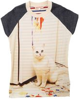 Cat Print Twill & French Terry Dress