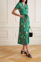 Thumbnail for your product : HVN Maria Belted Floral-print Silk Maxi Shirt Dress - Green