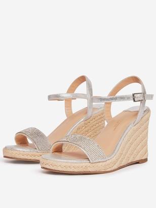 Dorothy Perkins Wide Fit Gry Raaraa Embellished Wedged Shoe - Grey