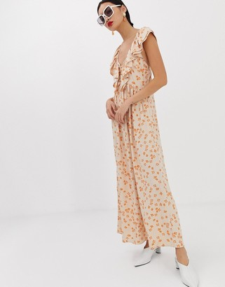 Lost Ink maxi dress with ruffle collar and volume skirt-Orange