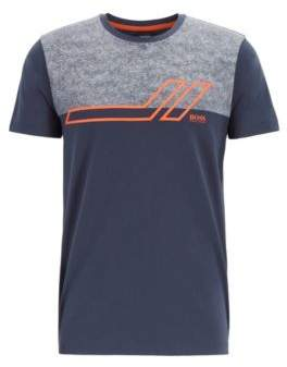 BOSS Regular-fit T-shirt with colour block in stretch cotton