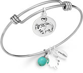 Unwritten Elephant Charm and Manufactured Turquoise (8mm) Bangle Bracelet in Stainless Steel