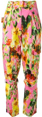 MSGM Floral-Print Buckle-Strap Trousers