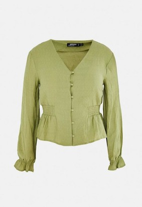 Missguided Size Green Button Front Blouse