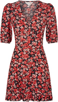 Miss Selfridge Multi Colour Floral V Neck Fit And Flare Dress