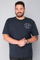 Yours Clothing BadRhino Navy 'Track & Field' Crew Neck Slub Jersey T-Shirt