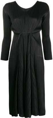Pleats Please Issey Miyake Pleated Long-Sleeve Midi Dress