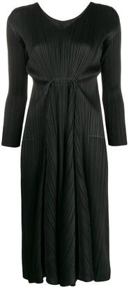 Pleats Please Issey Miyake pleated long-sleeve midi dress