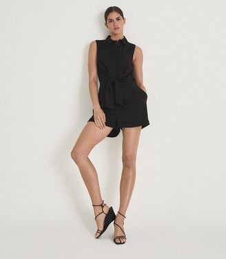 Reiss Kali Wedge - Leather Strappy Wedged Sandal in Black
