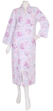 Miss Elaine Quilted Floral-Print Zipper Robe