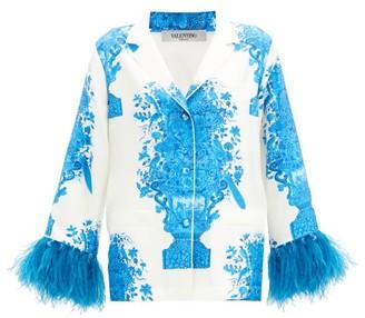 Valentino Feather-trimmed Delft-print Silk-twill Shirt - Blue White