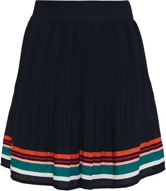 Maje Plisse Striped Crepe De Chine Shorts