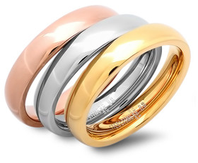 Steel Time Women's Rings Tri-Color - Tri-Tone Stackable Band Ring Set