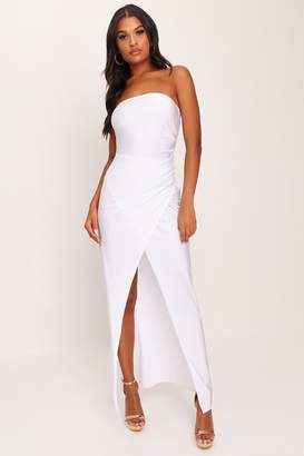 I SAW IT FIRST White Thigh Split Ruched Front Maxi Dress