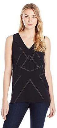 James & Erin Women's Embellished Hi Lo Sleeveless V-Neck Top
