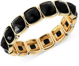 Anne Klein Gold-Tone Cushion-Cut Jet Stone Stretch Bracelet