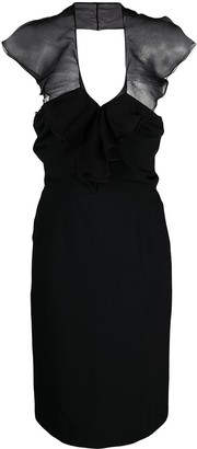 Christian Dior Pre-Owned Ruffled Detail Fitted Dress