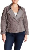 Live A Little Faux Leather Lace Yoke Jacket (Plus Size)