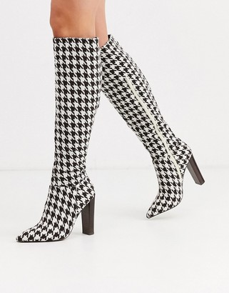 Asos Design DESIGN Coral heeled knee high boots in houndstooth check-Multi