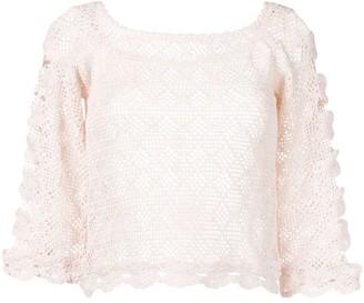 Alberta Ferretti sheer knitted blouse