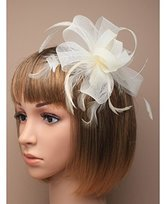 Inca Cream Fascinator on Headband/ Clip-in for Weddings, Races and Occasions-7785
