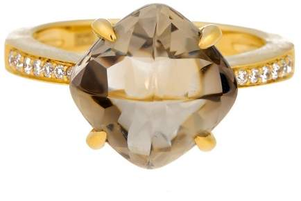 Frederic Sage 18k Yg Smokey Quartz and Diamond Cushion Ii Jelly Bean Ring