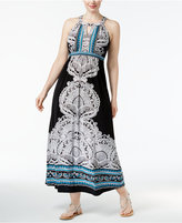 INC International Concepts Plus Size Printed Halter Maxi Dress, Only at Macy's