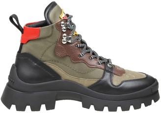 DSQUARED2 Trekking Boot Military Green Black And Red Color