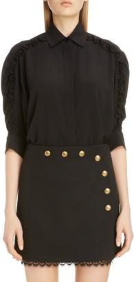 Givenchy Ruffle Sleeve Silk Shirt