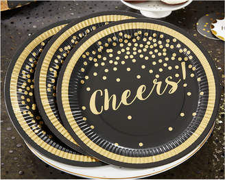 Kate Aspen Set Of 8 Party Time Gold Foil Cheers Paper Plates