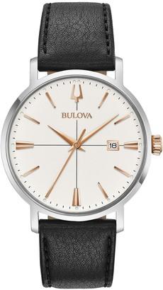 Bulova Men's AeroJet Black Leather Watch, 39mm