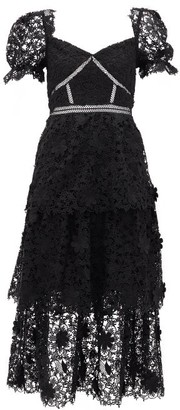 Self-Portrait Self Portrait Tiered Floral Guipure-lace Midi Dress - Womens - Black