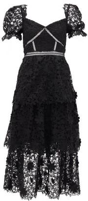 Self-Portrait Tiered Floral Guipure-lace Midi Dress - Womens - Black