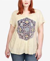 Lucky Brand Trendy Plus Size Temple Mandala Graphic T-Shirt