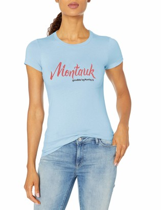 Marky G Apparel Women's Casual Short Sleeve Crewneck Tops Blouses Slim Fit T-Shirt with Montauk Printed