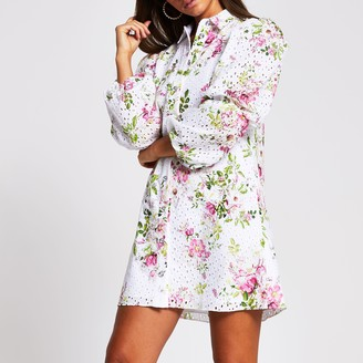 River Island Womens White long sleeve floral broderie mini dress