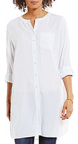 Vince Camuto Two by Long Sleeve Canyon Stripe Collarless Long Tunic