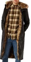 Topman Men's Longline Parka With Faux Fur Lining
