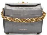 Alexander McQueen Grey Croc Embossed Mini Box Bag